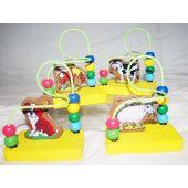 """COWBEAD - 5"""" Cow Themed Wooden Bead Infant Game (12pcs @ $1.25/pc)"""
