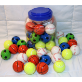 "CZBR430 - 1.5"" Assorted Sports Bouncy Ball (24 pcs @ $0.45/pc)"