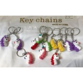 "CZ122 - 2"" Colorful Rubber Unicorn Keychains (12pcs @ $0.75/pc)"
